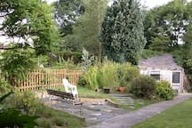 Spacious garden, including a small pond & chickens
