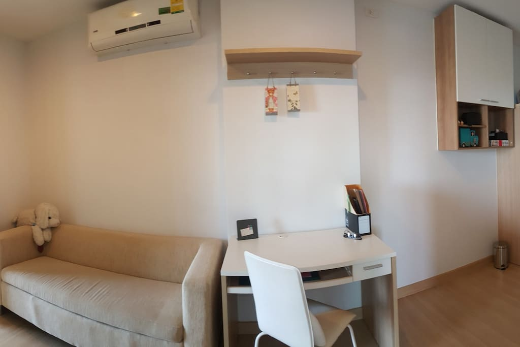 Living Room with Sofa, Desk, Free Space