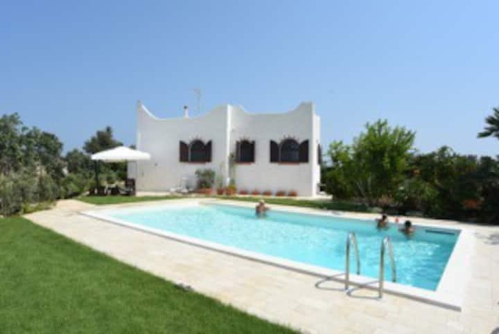 Villa set on the beach with pool