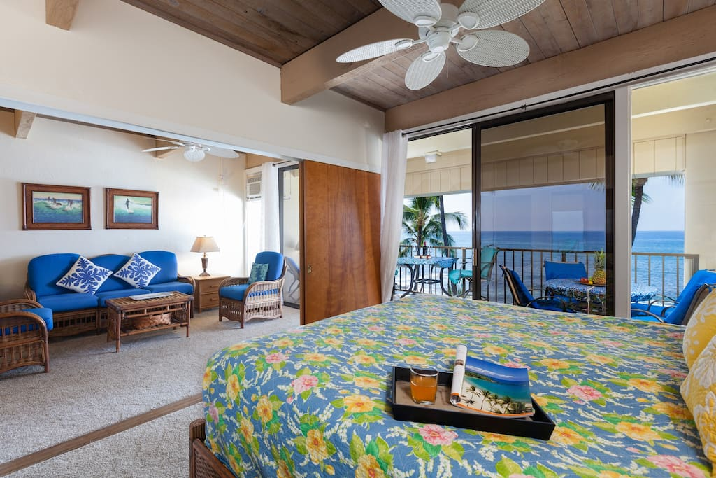 Ocean front Master with plush king size bed