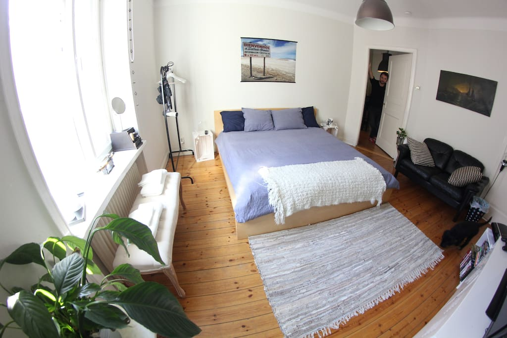 The room has a clothing rack, bed, bedside tables,  sofa, TV, huge full-body mirror. Umbrellas for rainy weather! You also have a hairdryer, a hair straightener and a yoga mat  in the room.