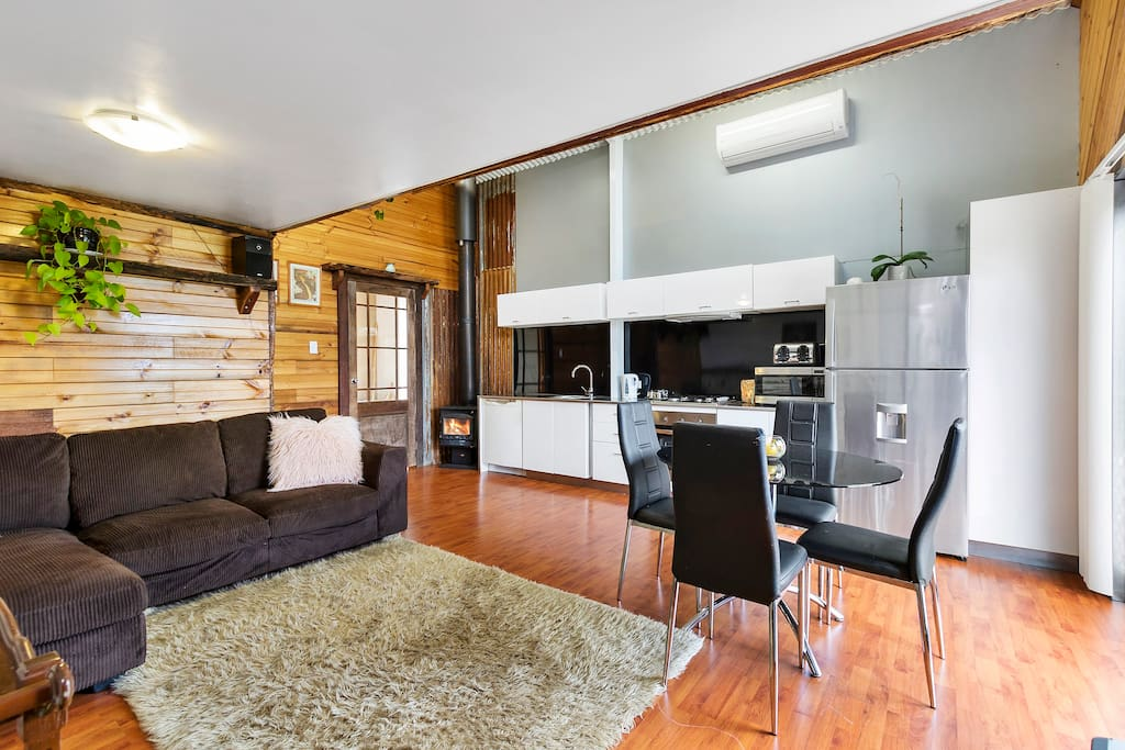 Open plan living with combustion fire