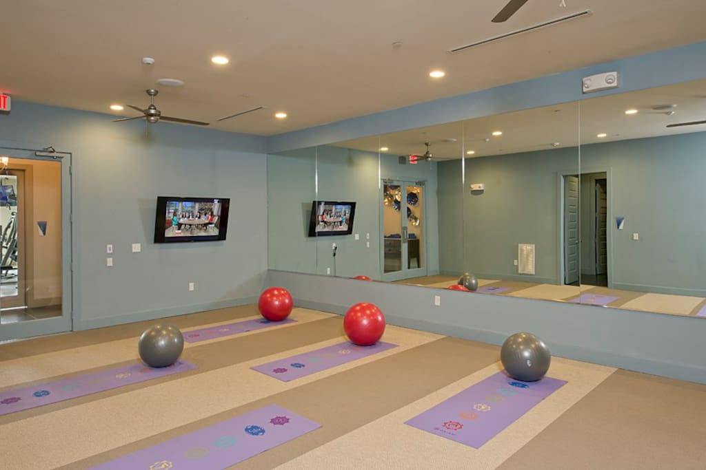 Join us for yoga class or virtual fitness.