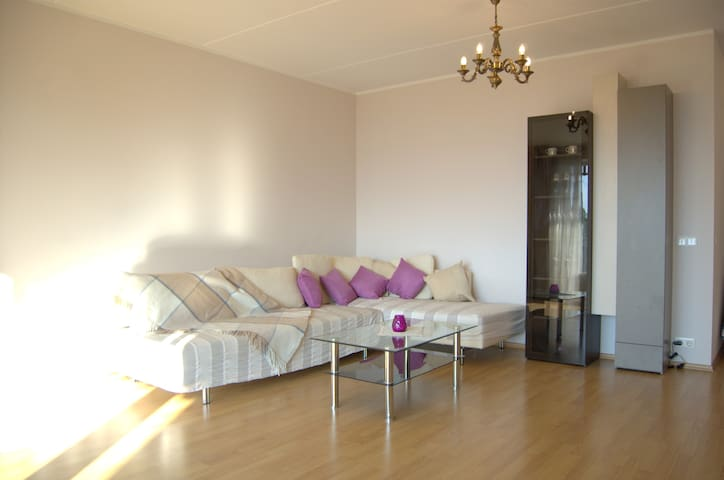 Living room. 1 sleeping place on the couch and 3 extra beds are available  Watch the video about apartment here: https://youtu.be/aUbe90ygnC8 Search it in You Tube - Best holiday home in Tallinn Valge