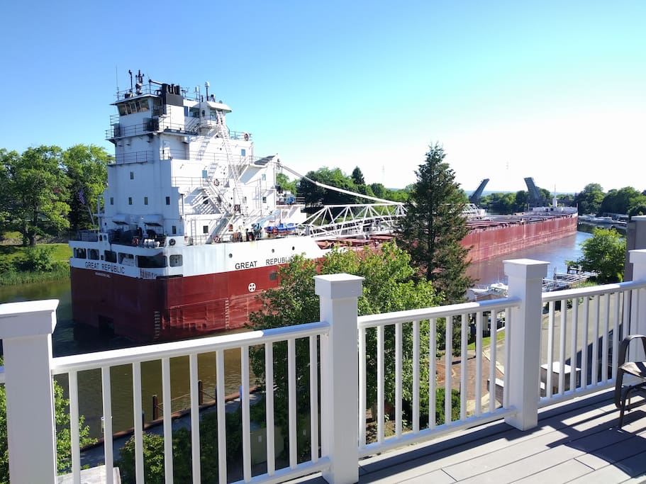 Maybe you will be lucky enough to see a Great Lakes Freighter sail past the windows