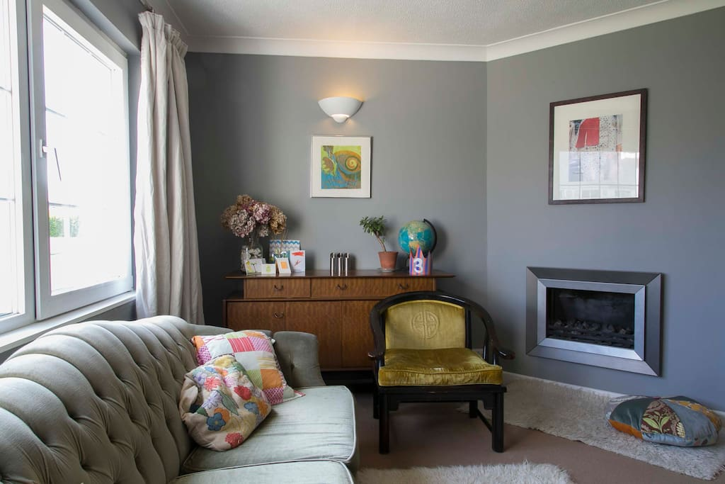 Cosy sitting room with real flame gas fire
