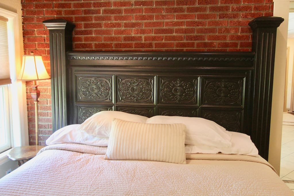 King size bed with very soft linens