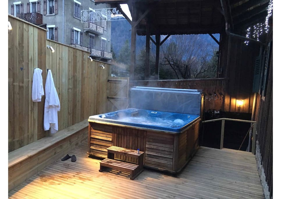 Hot Tub on an outdoor deck with mountain views