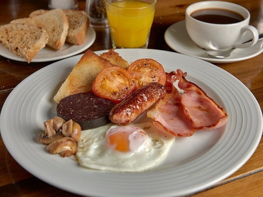 Freshly prepared full English breakfast