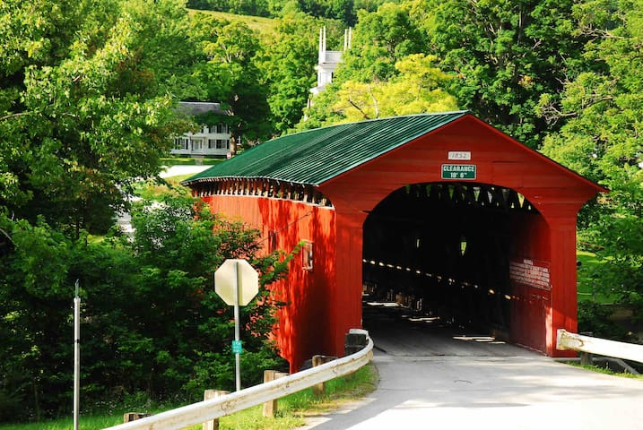 Imagine yourself at the famed West Arlington covered bridge just  10 minutes away!