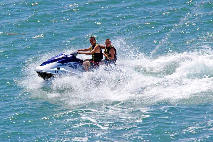 Catching a Jet Ski ride in the bay is a must!