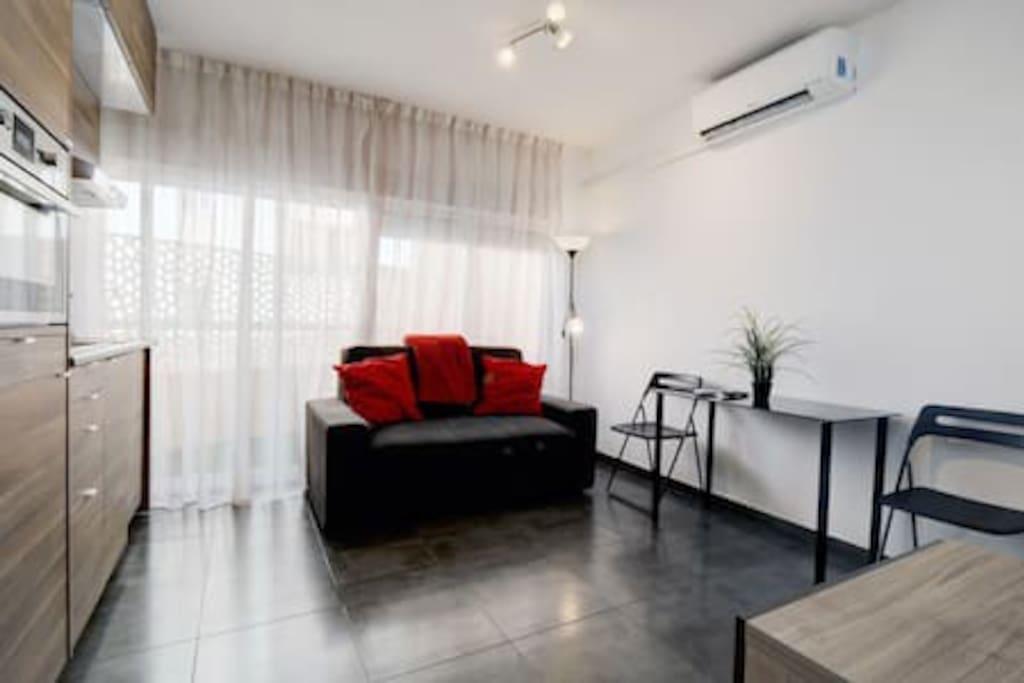 Living room and kitchen. Sofa converts into a double bed.  Salón con cocina. El sofá se convierte en cama doble.
