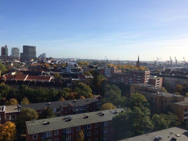 wunderbarer Blick auf Elbphilharmonie, Elbe und Hafen