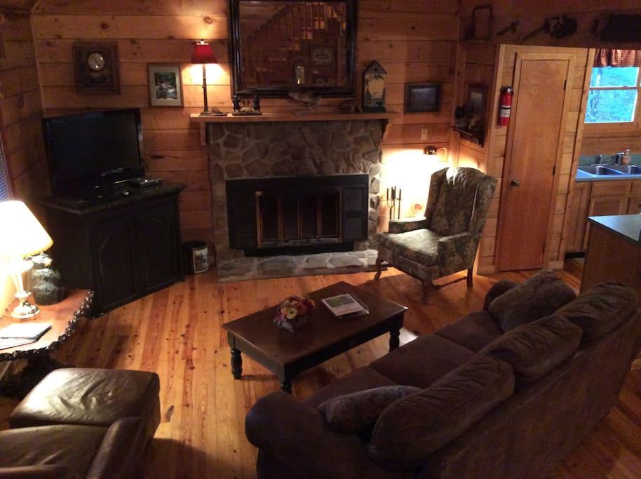 Living Room - Seasonal wood burning Fireplace
