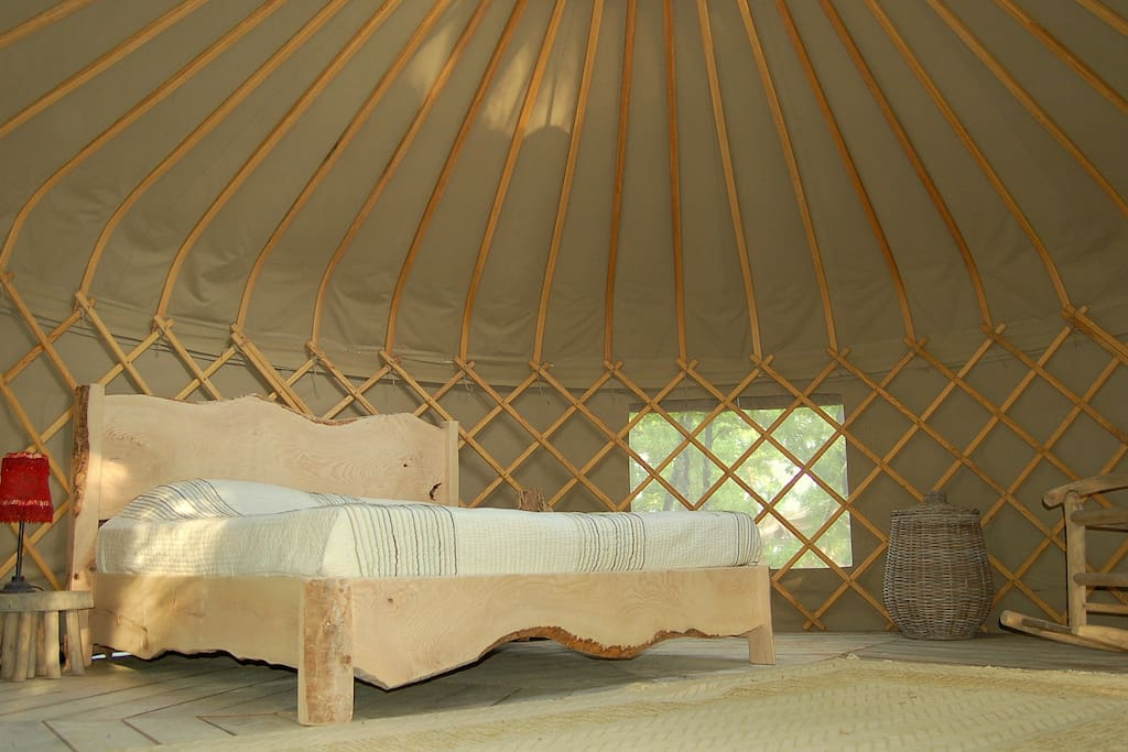 Handmade Emperor Size bed in Woodland Yurt