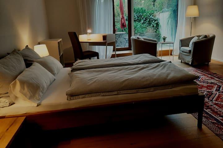 Helles 1-Zimmer-Appartement, Küche, Bad, Terrasse