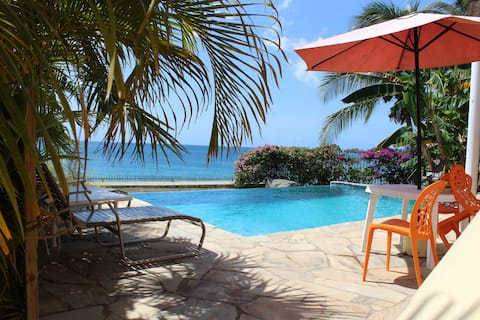 Karibialainen rantanäkymä, netflix ja infinity-uima-allas.