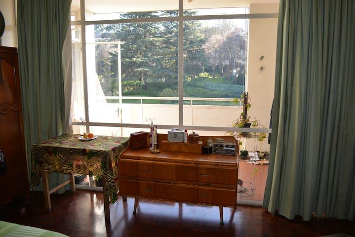 Piano room with balcony in upscale neighbourhood