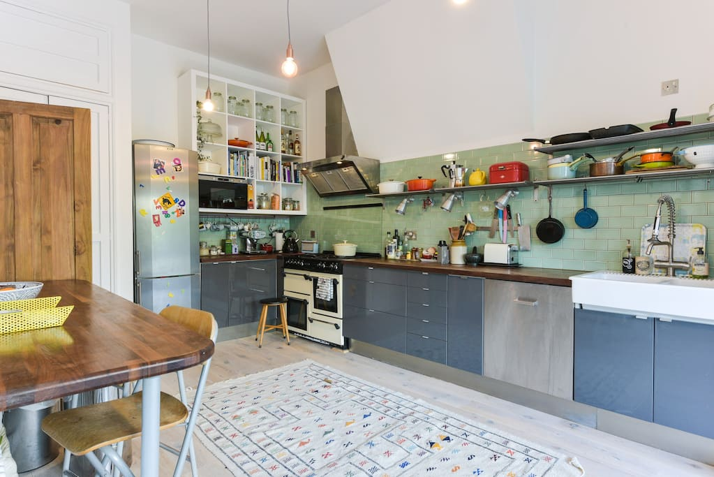 Kitchen utilities, dish washer, range cooker and microwave