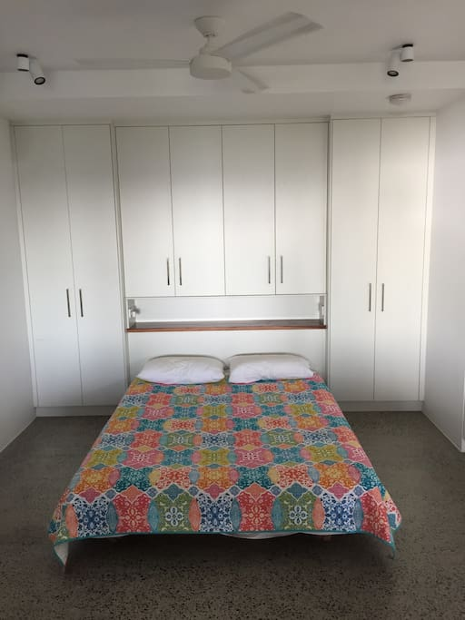 Queens size bed and lots of storage