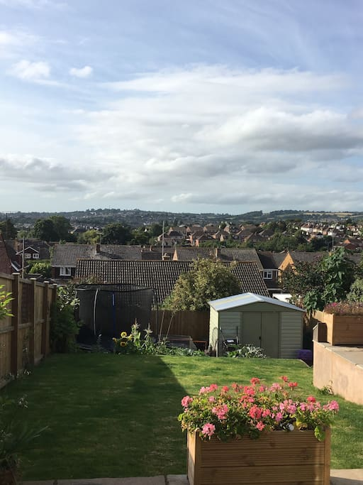 View over the city of Exeter from dining area