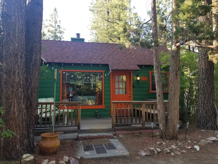 Quaint 1950s cabin in the woods.