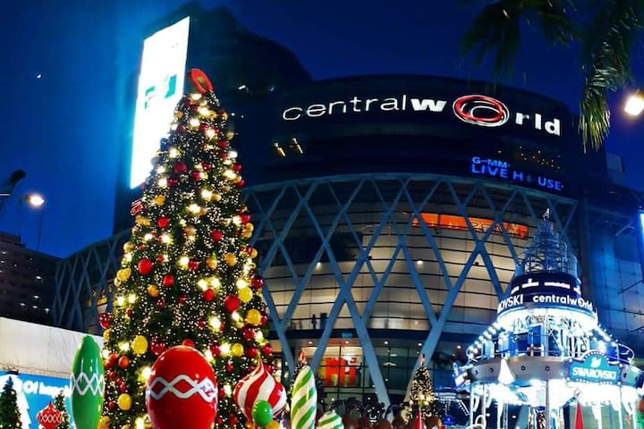 Central world is nearest shopping mall which is 15 minute away from the apartment.