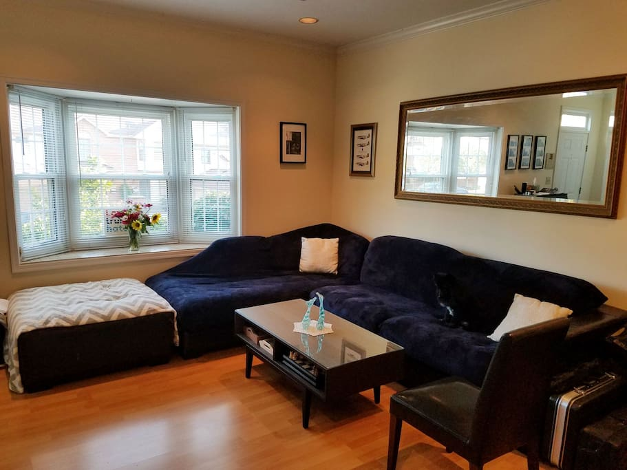 Living room with large sectional couch.