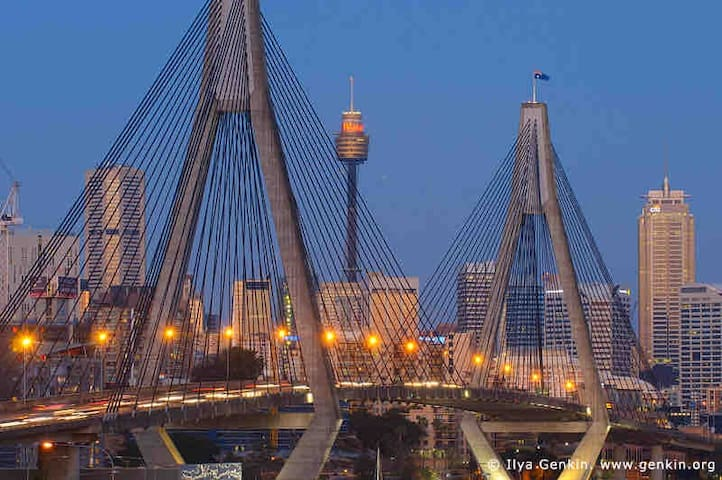 Beautiful ANZAC bridge view and 1 bus stop to City