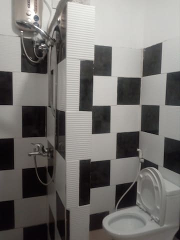 Family room toilet and bath showet