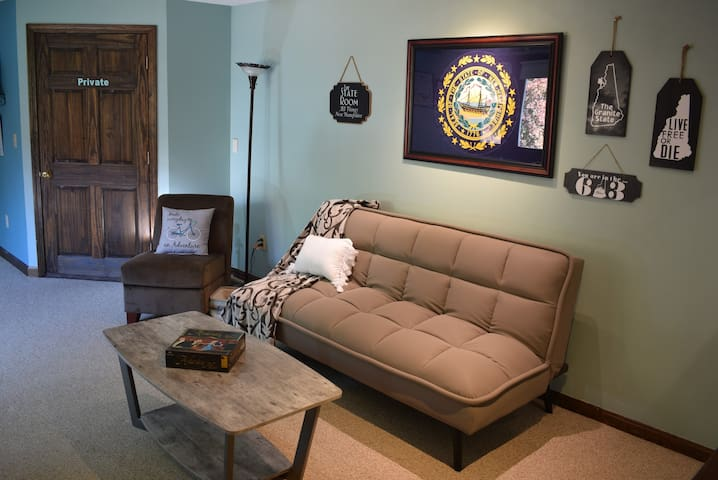 """The State Room ... with a theme of """"All things New Hampshire"""" ... is a private bonus room where you can relax, read, play games or even use this space for your children to sleep on our high quality air mattresses."""