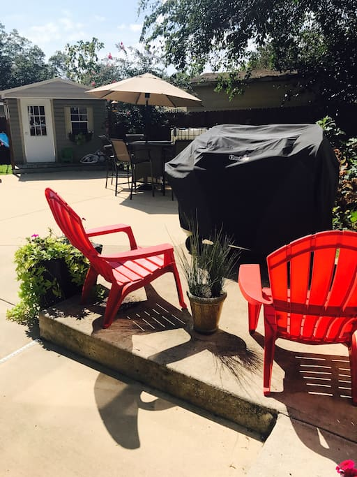 Outdoor grill and office/music room