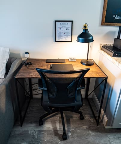 Fast reliable wifi and desk if you need to get some work done.