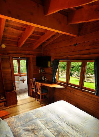 Views to the outdoors framed in beautiful redwood logs.