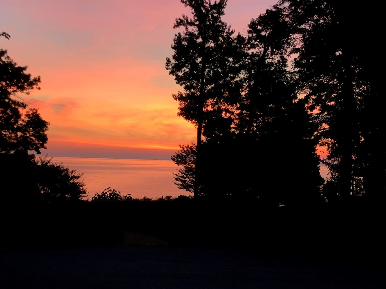 Sunrise over the Chesapeake Bay from the porch at Bayview at Hilltop