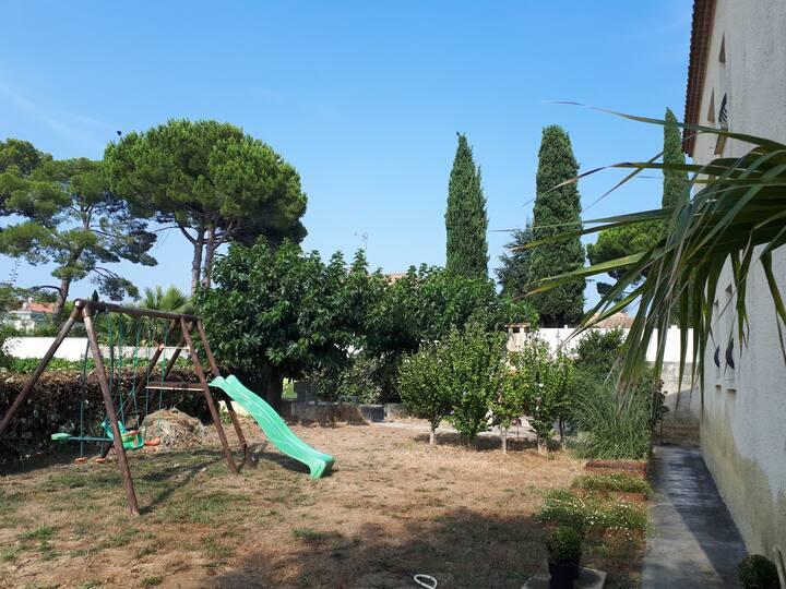 4 bedrooms villa/garden 5 min Montpellier/Plages