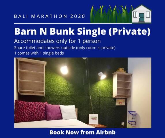 Bali Marathon 2020 Barn N Bunk Single Private Room