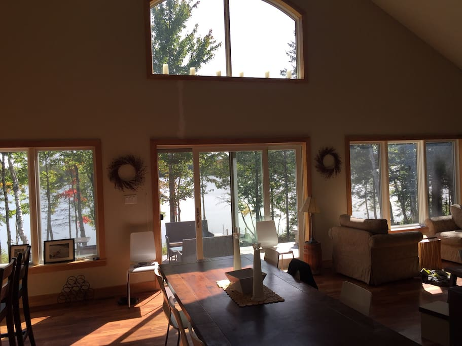 Front windows overlooking the lake.