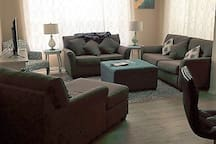 Spacious, comfortable Living Room with Cable TV