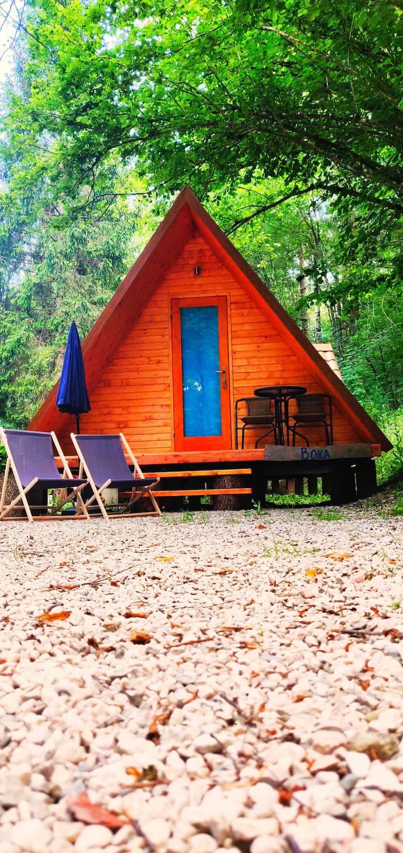 Wooden tent in Soča Valley