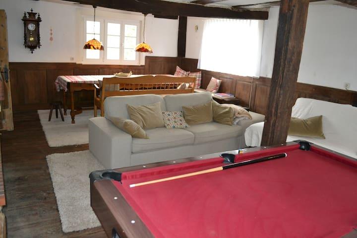 gemütliches Ess- und Wohnzimmer mit offenem Kamin