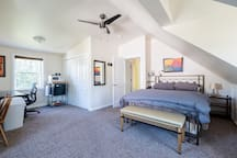 A large, comfortable room with a new pillow top mattress and a down comforter.