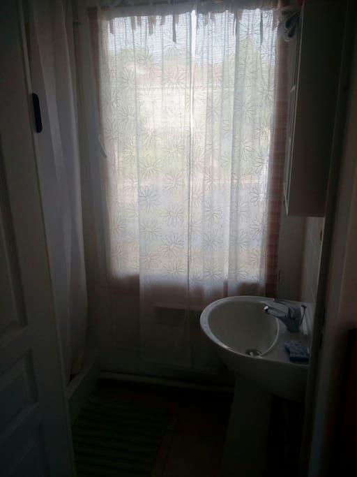 salle d'eau privative, vous avez une douche et un lavabo pour vous. tapis de bain fourni. vous apportez votre serviette de toilette, sinon je peux vous en louer.
