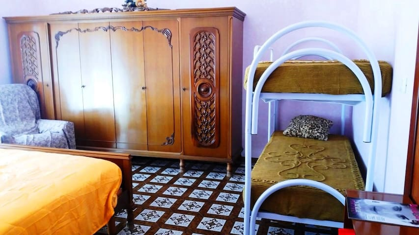 Double bed with bunk bed