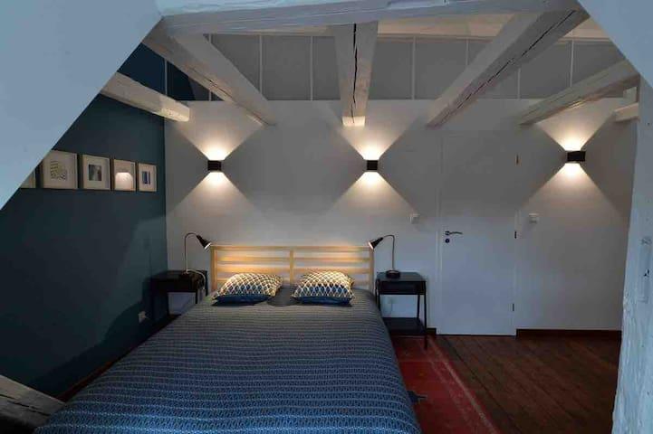 Chambre à coucher sous les toits Vue sur les Vosges et le Mont Ste Odile Salle de bains attenante  Lit 160x200