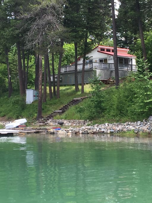Enjoy the warm waters of Echo Lake right out the cabin door.