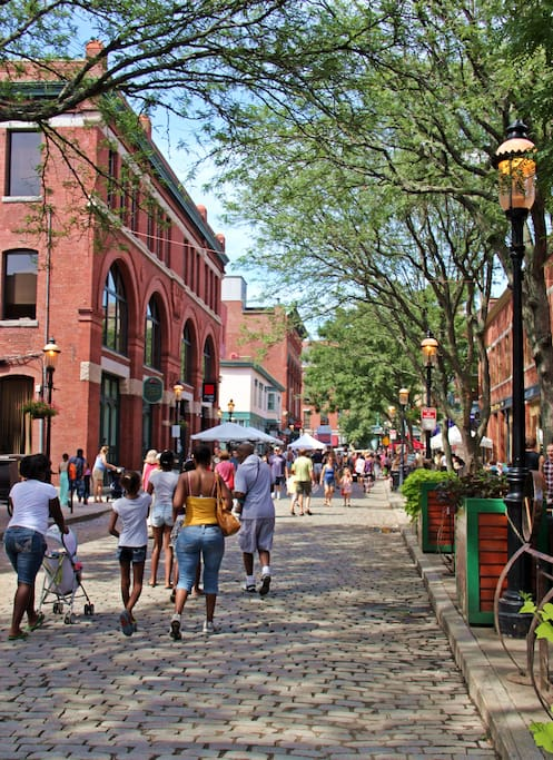 Cobblestone streets and gas lights throughout the historic downtown!