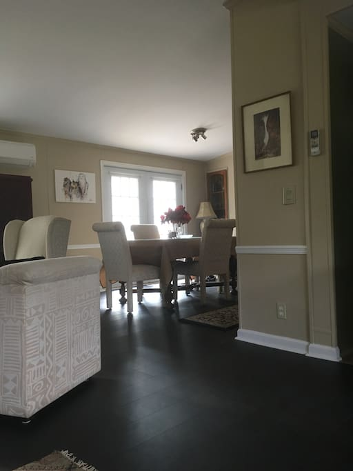View from front living room into dining room