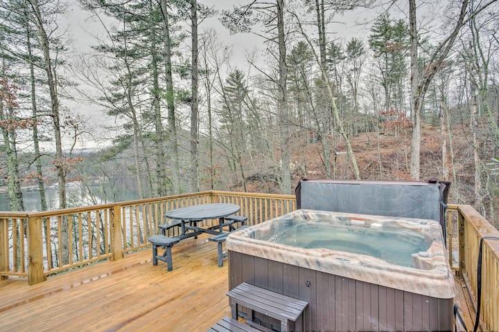 Lakefront Butler Home w/ Hot Tub, Fire Pit & Dock!