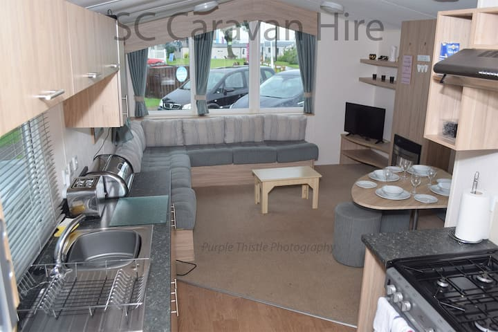 Deluxe caravan at Seton Sands with many extras